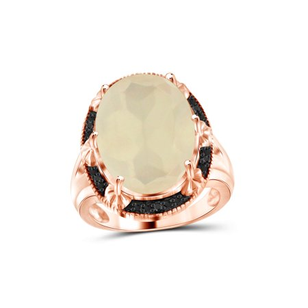 Moonstone Rose Ring - 11 Carat T.G.W. Moonstone and Black Diamond Accent Rose Gold over Silver Ring