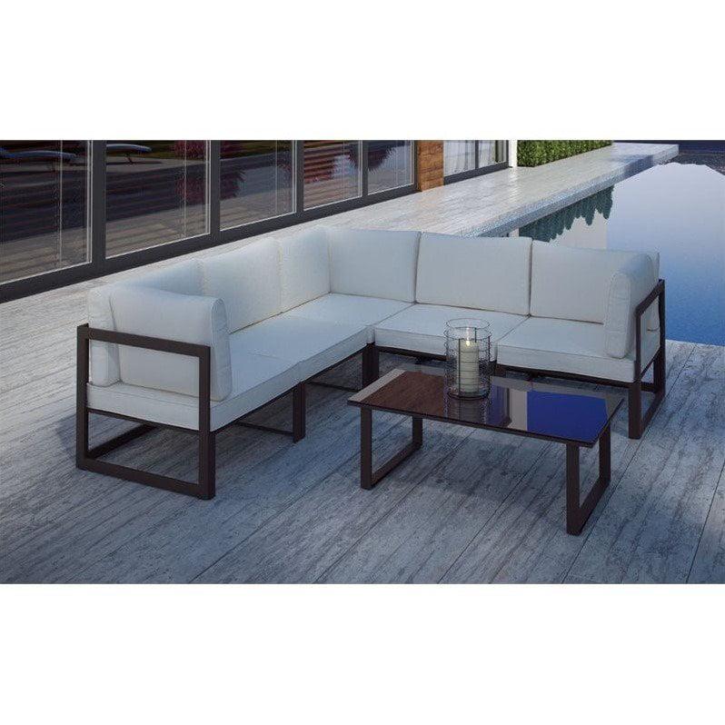 Modway Fortuna 6 Piece Aluminum Patio Sectional Sofa Set