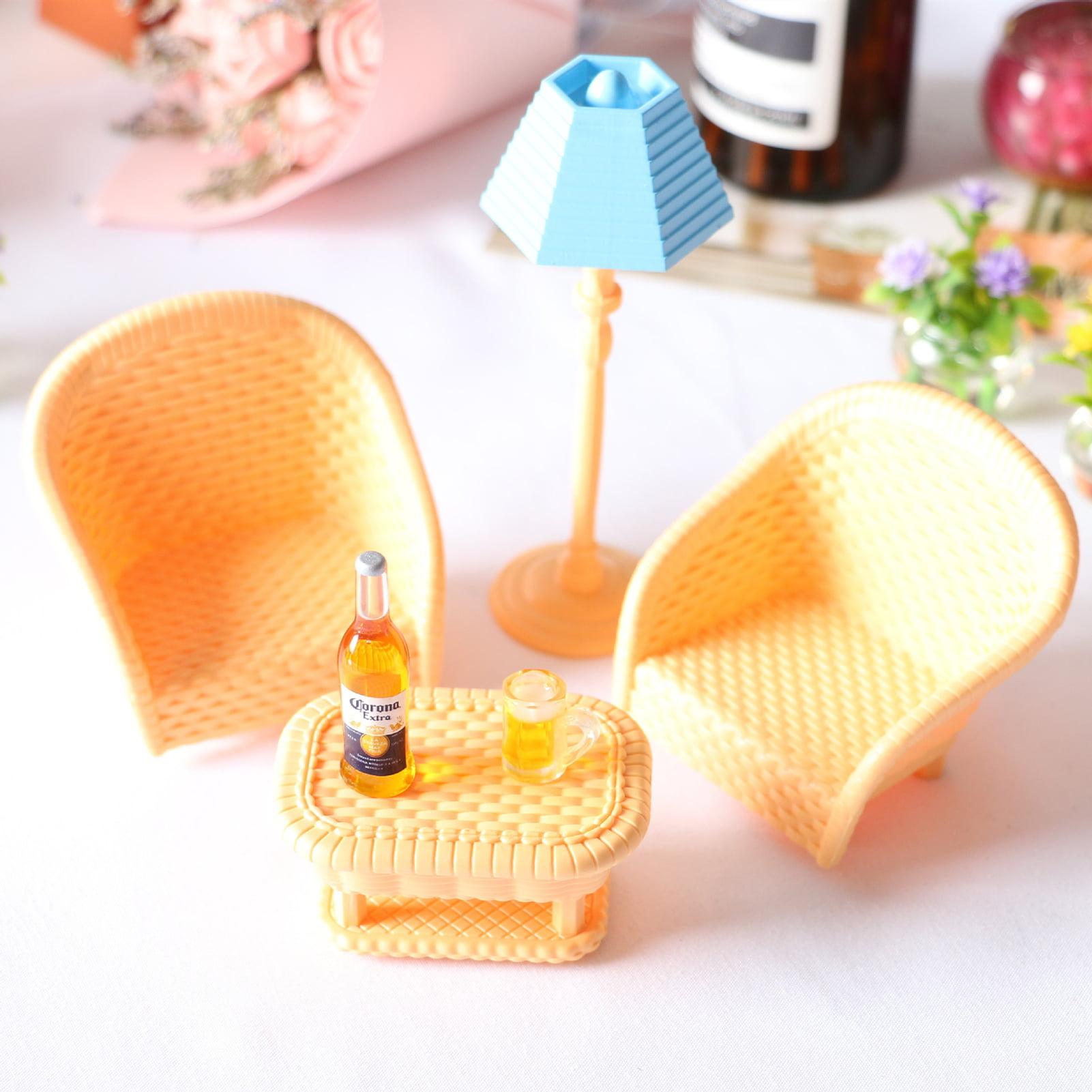 Lubelski Dollhouse Miniature Rattan Chair Tea Table Light Beer Mug Living Room Decoration Walmart Canada