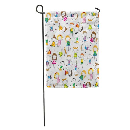 KDAGR Painting Small and Smile Kids Playing Dancing Action Active Animated Garden Flag Decorative Flag House Banner 28x40 inch
