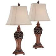 Regency Hill Traditional Table Lamps Set of 2 Bronze Wood Carved Leaf Creme Rectangular Bell Shade for Living Room Family Bedroom