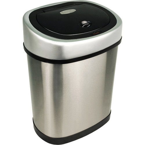 Nine Stars Motion Sensor Touchless 3.2 Gal Trash Can, Stainless Steel