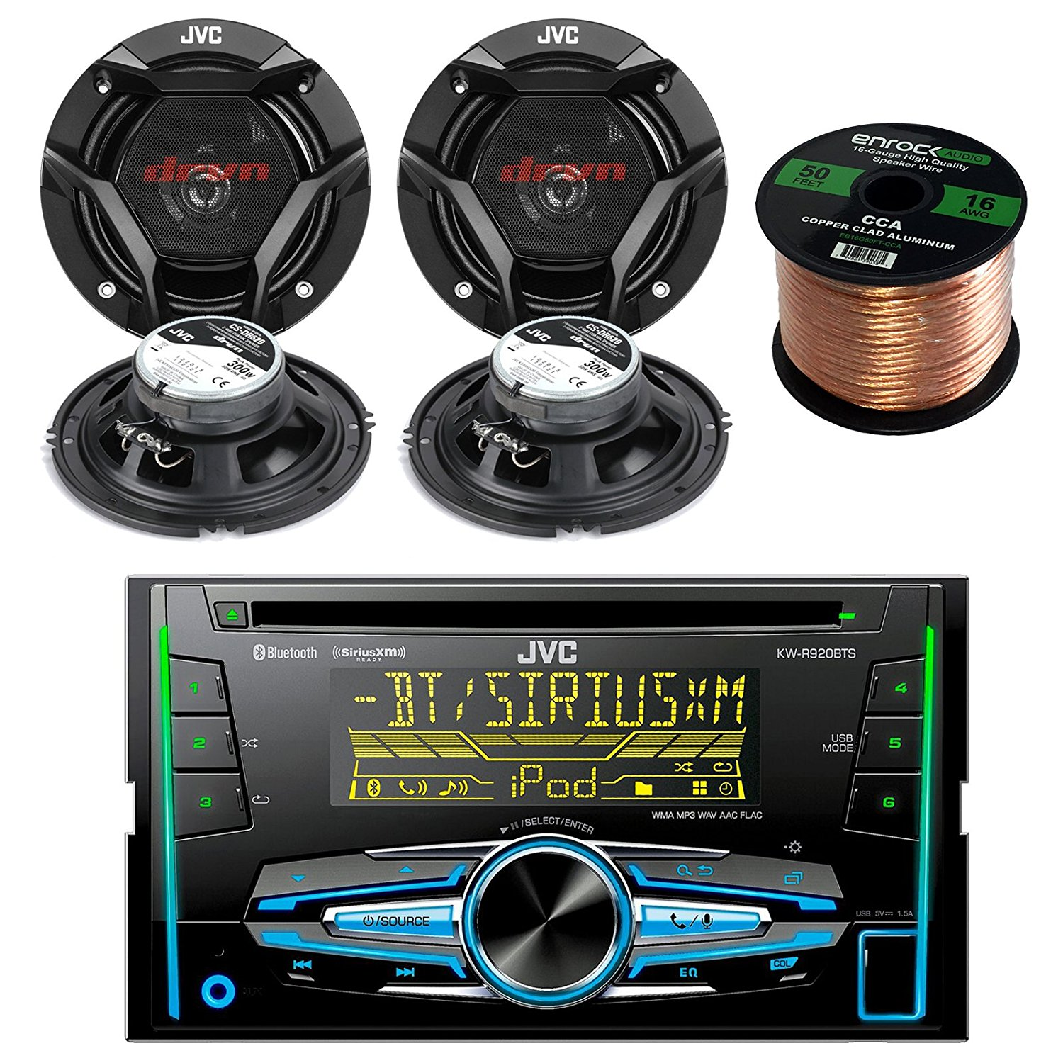 JVC KW-R920BTS Double DIN Bluetooth Car Stereo Receiver B...