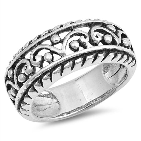 - Wide Filigree Crown King Bead Statement Ring ( Sizes 6 7 8 9 10 ) 925 Sterling Silver Band Rings by Sac Silver (Size 9)