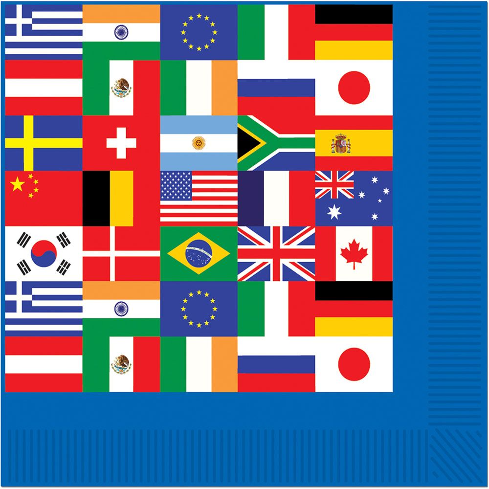 International Party Beverage Napkins (16 Pack) - Party Supplies