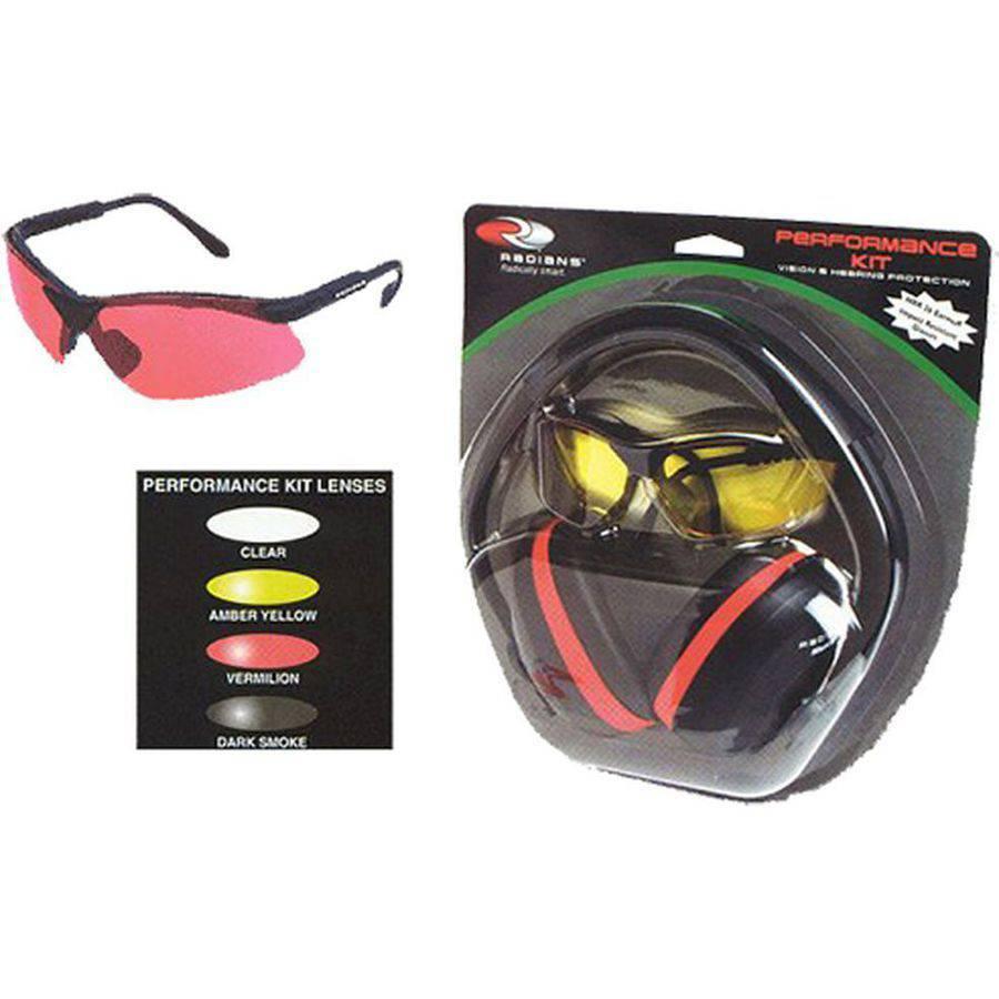 Radians SLRV0120 Earmuffs/Shooting Glasses, Dark Smoke, NRR 26dB