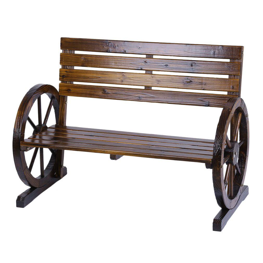 Patio Garden Wooden Wagon Wheel Bench Rustic Wood Design ...