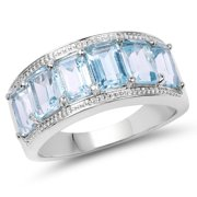 Malaika  4.08 Carat Genuine Blue Topaz .925 Sterling Silver Ring 6