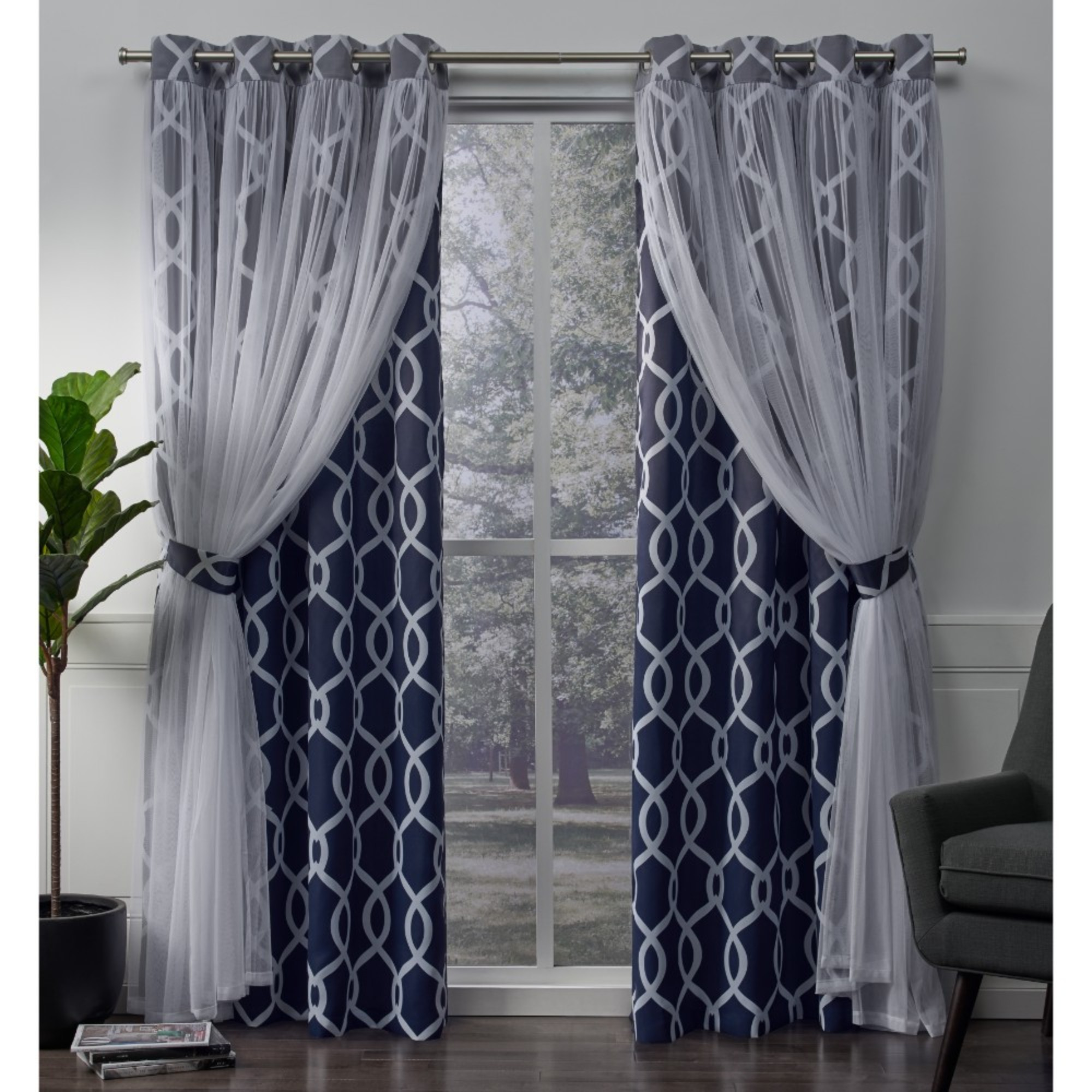 Exclusive Home Curtains 2 Pack Carmela Layered Geometric Blackout and Sheer Grommet Top Curtain Panels