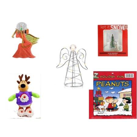 Christmas Fun Gift Bundle [5 Piece] - Egyptian Pharaoh Angel Ornament - Let It Snow Glass Ornament Deer - RadioShack LED Desktop USB-Powered Wire Angel - Santa Reindeer  With Gift Card Holder  12