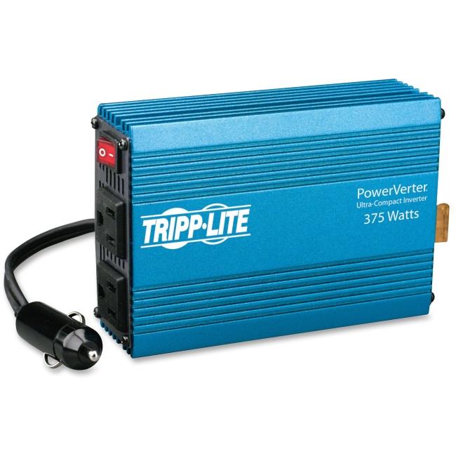 Tripp Lite Compact Car Portable Inverter 375W 12V DC to 120V AC 2 Outlets - 12V DC - 120V AC - Continuous Power:375W