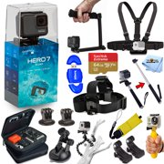 GoPro HERO7 HERO 7 Silver Edition All In 1 PRO ACCESSORY KIT with Sandisk Extreme 64GB Micro SD, 3-Way Tripod, Head and Chest Strap, Monopod, Case and Much More