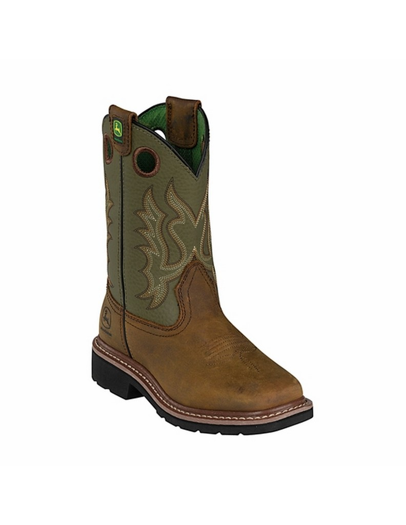 John Deere Western Boots Boys Kids Square Toe Cowboy Olive Tan JD3336 by John Deere
