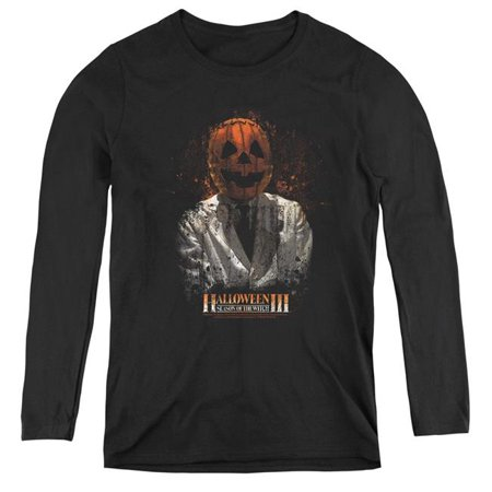 Uni Halloween Costume (Trevco Sportswear UNI504-WL-5 Womens Halloween III & H3 Scientist Long Sleeve T-Shirt, Black -)