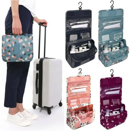 Travel Toiletry Wash Cosmetic Bag Makeup Storage Case Hanging Organizer Bag,Wine Red - Bat Makeup