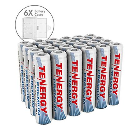Tenergy 24 Pack Premium Rechargeable AAA Batteries, High Capacity 1000mAh NiMH AAA Batteries, AAA Cell Battery with 6 AAA (High Capacity 6 Cell)
