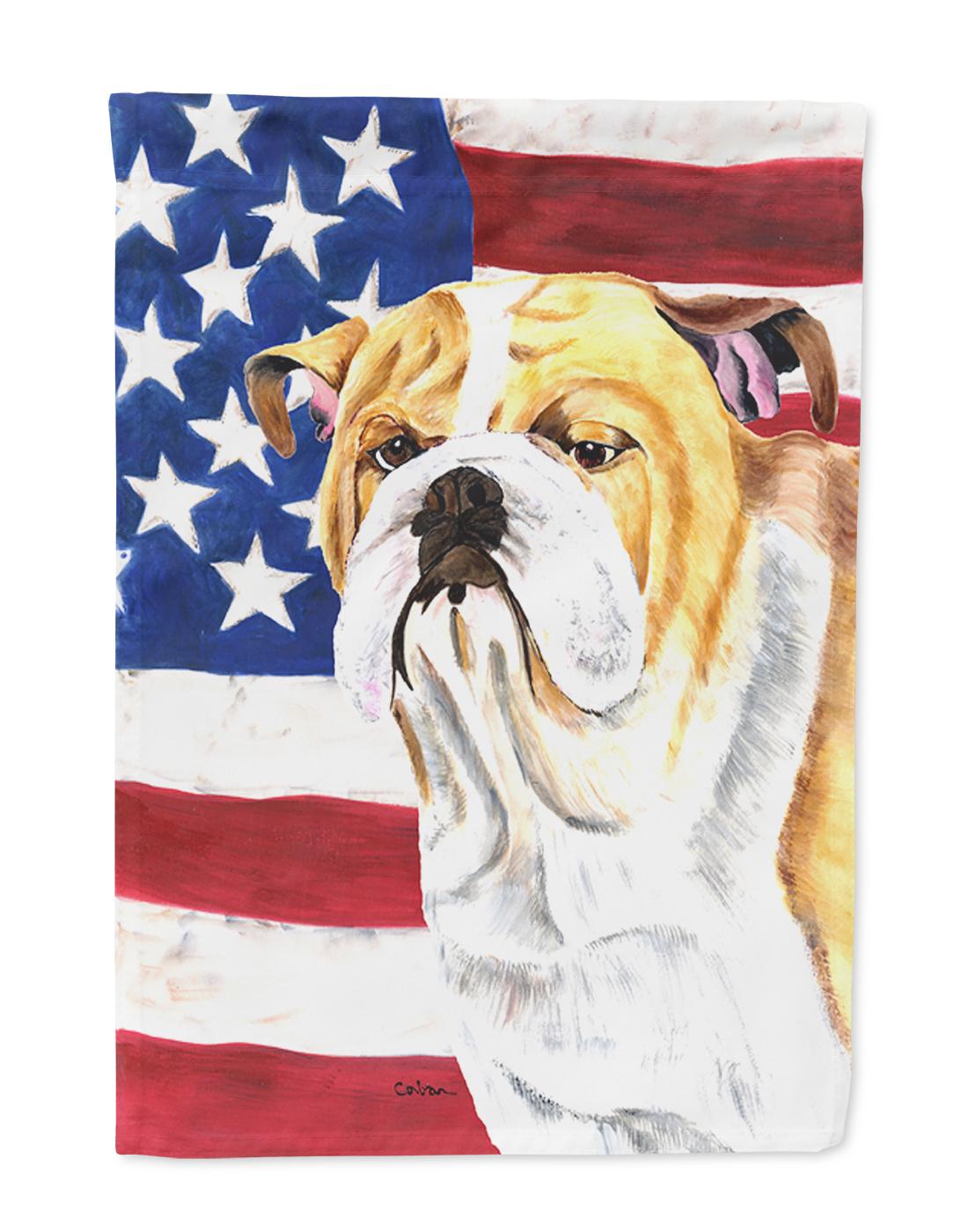 USA American Flag with Bulldog English Flag by Caroline