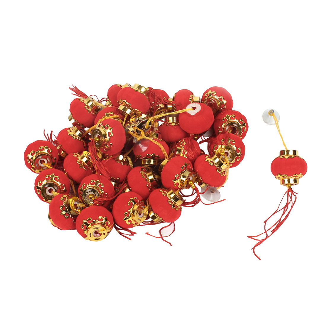 Festival Adron Suction Cup Hanging Chinese Red Lantern Decoration x 30