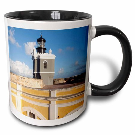 3dRose Puerto Rico, Old San Juan, El Morro lighthouse-CA27 WBI0012 - Walter Bibikow - Two Tone Black Mug,