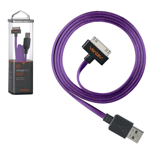 Ventev Chargesync 3.3ft. 30-Pin Apple Sync Cable for Apple iPhone, iPad, iPod (Purple) - CABLEMFIPURVNV
