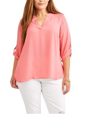 33559c96dd075 Product Image Women s Plus Size Roll Cuff Contrast Top