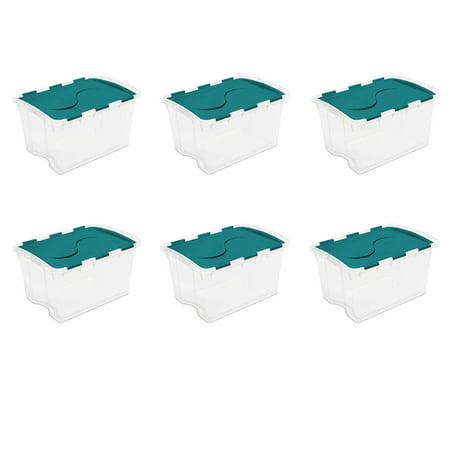 Sterilite 48 Qt. Hinged Lid Storage Box Teal Sachet Case of 6 Hinged Storage Container