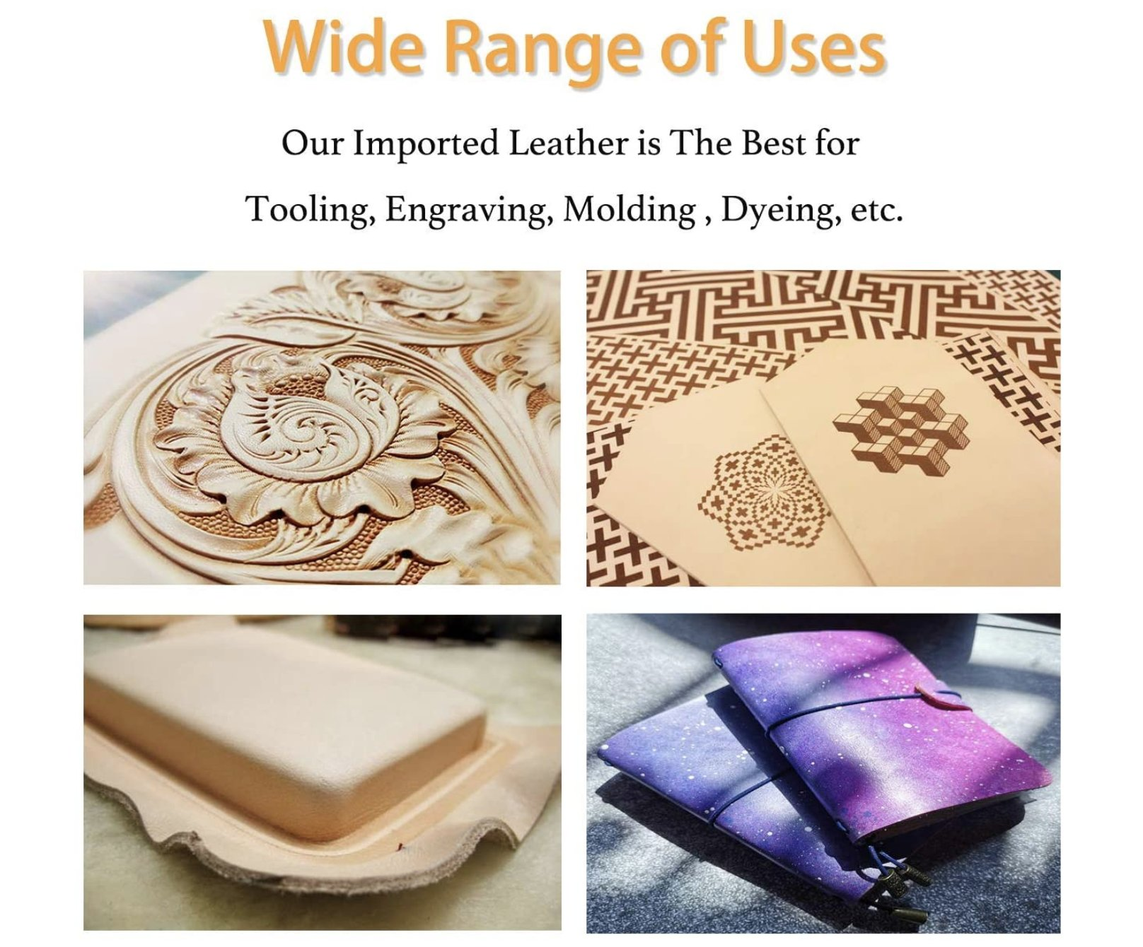 Tooling 2.5-4 Sqft 2.0-2.4mm Full Grain Vegetable Tanned Leather Molding Dyeing Hand and Leather Craft Carving Veg Tan Leather 5//6 oz A Grade Tooling Leather Hide