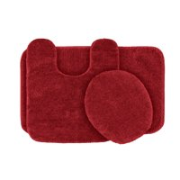 3 Piece Traditional Soft and Plush Nylon Washable Bathroom Rug Set