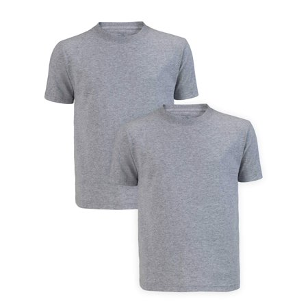 Fruit of the Loom Short Sleeve Crew Neck T-Shirts, 2 Pack (Little Boys & Big Boys) Cock Ash Grey T-shirt