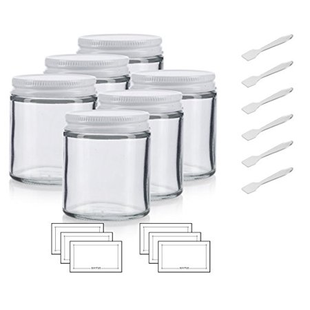 Clear Thick Glass Straight Sided Jar with White Metal Airtight Lid - 4 oz / 120 ml (6 pack) + Spatulas and Labels (3 Oz Glass Jars)
