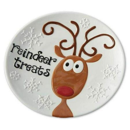 Hand Painted Snowflake (Reindeer Treats Hand Painted Earthenware Christmas Snowflakes Plate)