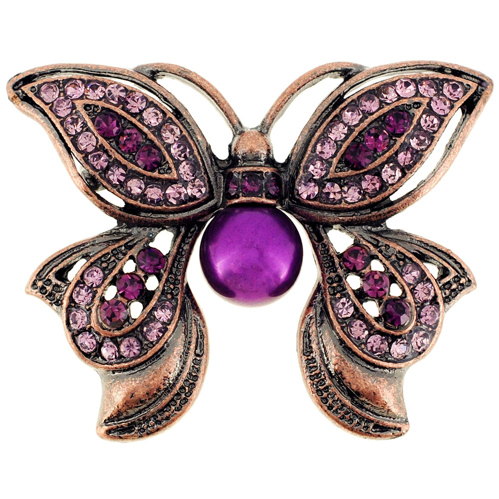 Amethyst Purple Butterfly Crystal Pin Brooch by
