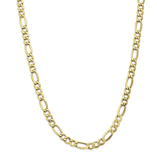 10k Yellow Gold 24in 7.3mm Semi-Solid Figaro Necklace Chain by Jewelrypot