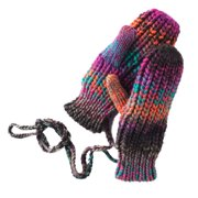 Mudd Womens Soft Blue & Purple Knit Mittens with String Attachment