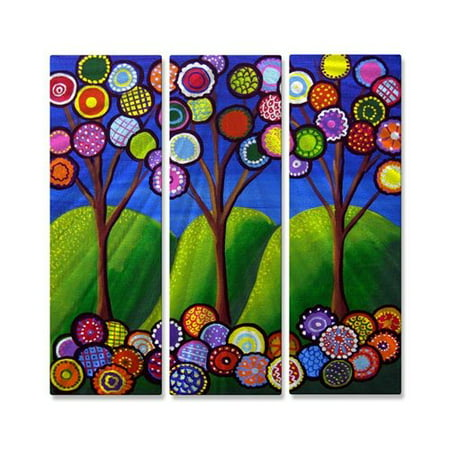 Image of All My Walls '3 Trees With Blossoms' by Renie Britenbucher 3 Piece Graphic Art Plaque Set