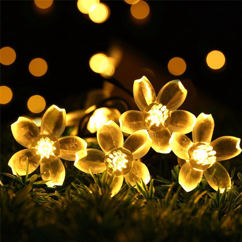 Christmas string Lights, 2 PACK Outdoor Solar Christmas Lights Cherry Blossom Festival Decoration Lights 23ft 50 LED Waterproof Landscape Lighting (Purple)