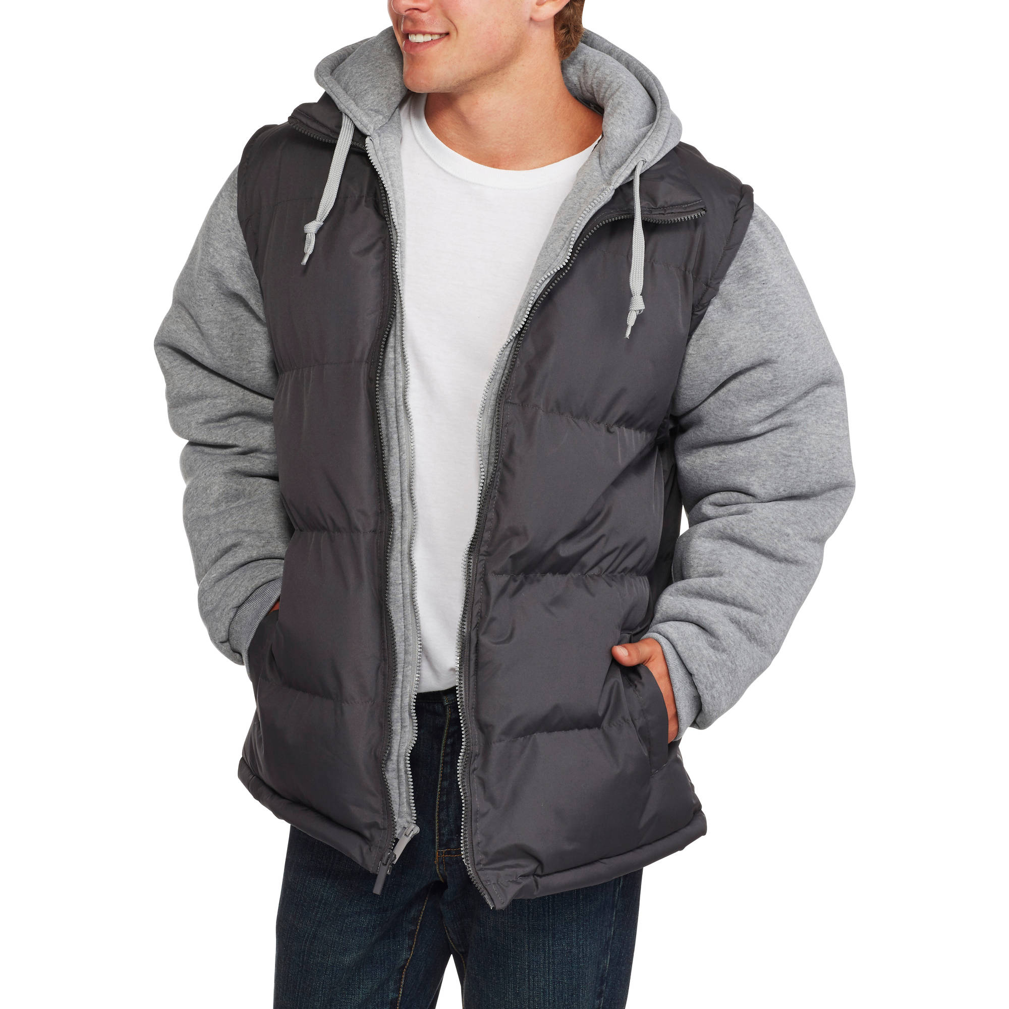 Men's Bubble Jacket with Fleece Chest Warmer and Fleece Sleeves