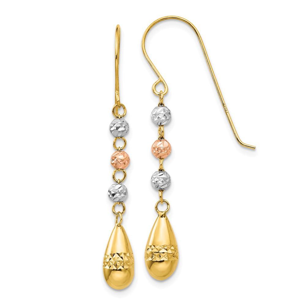 14k Three Tone Gold 1.5IN Long Puff Teardrop & Bead Dangle Shepherds Hook Earrings