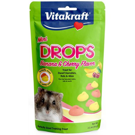 Flavor Hamster (Vitakraft Mini Drops Treat for Hamsters, Rats & Mice - Banana & Cherry Flavor 2.5 oz)