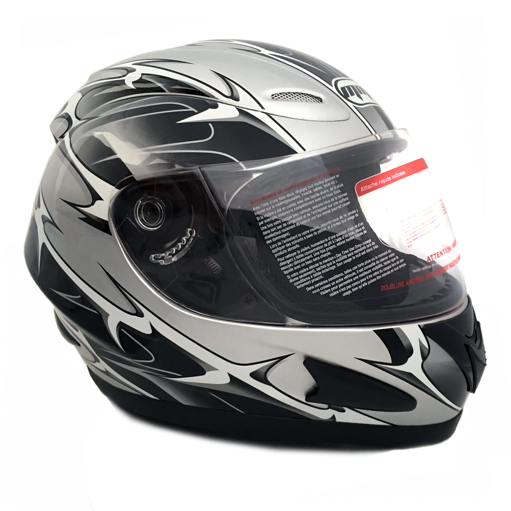 Motorcycle Full Face Helmet DOT Street Legal +2 Visors Comes with Clear Shield and Free Smoked Shield – Spikes GRAY 118S (Large)