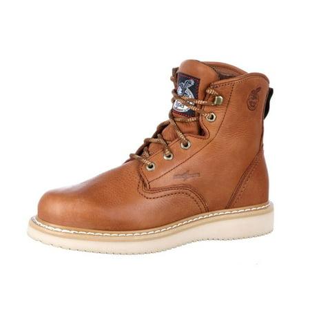 georgia men's 6'' wedge work boot, barracuda gold, 10.5 w us
