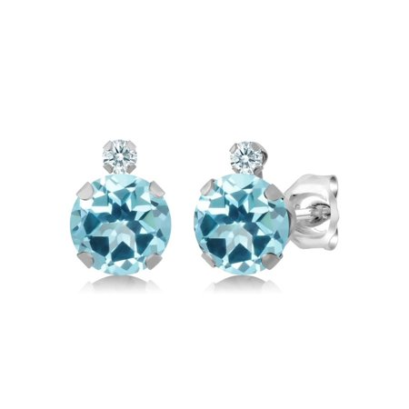 925 Sterling Silver Earrings Set With Round Ice Blue Topaz From Swarovski