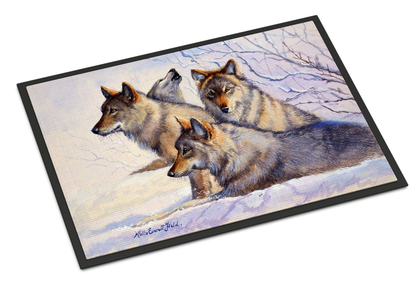 Wolves by Mollie Field Doormat by Caroline's Treasures