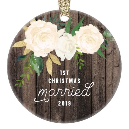 Just Married Ornament 2019, Newlywed Christmas Wedding Gifts Mr and Mrs Bride & Groom 1st Xmas Tree Decor Idea 3