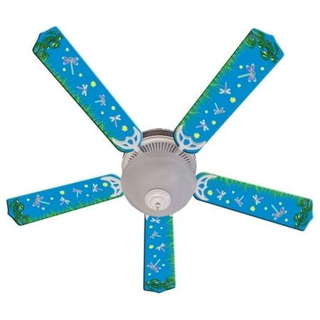 Blue Fireflies Print Blades 52in Ceiling Fan Light Kit](Fireflies Boutique)