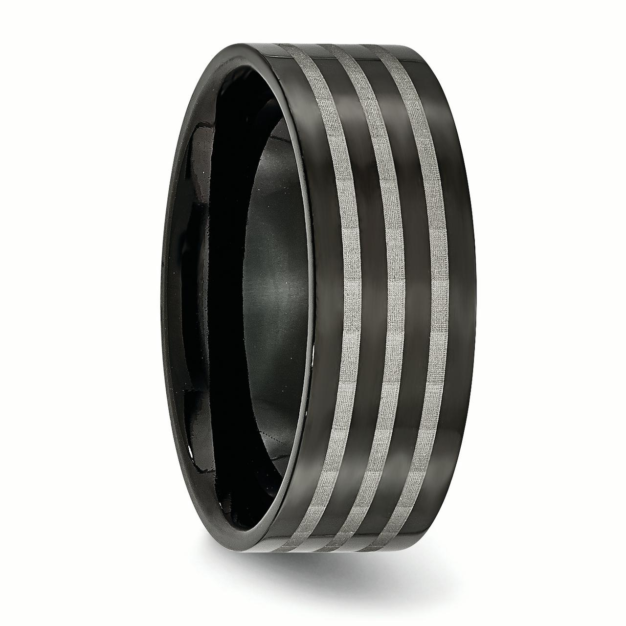 Titanium 8mm Black Plated Stripes Wedding Ring Band Size 12.50 Fashion Jewelry Gifts For Women For Her - image 5 of 6
