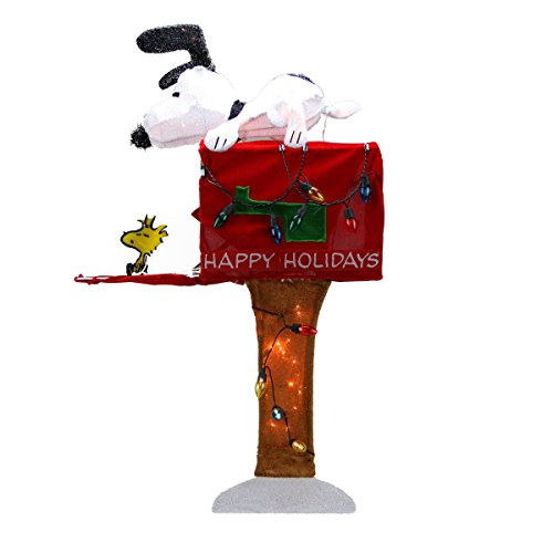"""ProductWorks Peanuts Snoopy on the Mailbox Soft Tinsel Animated Yard Decoration, 36"""""""