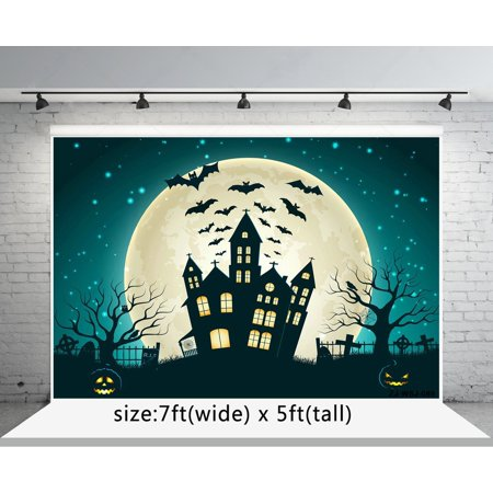 GreenDecor Polyster 7x5ft Pumpkin Faces and Bat Black Castle Photography Backgrounds Cartoon Painting Backdrops for Halloween (Halloween Pumpkin Face Painting Ideas)