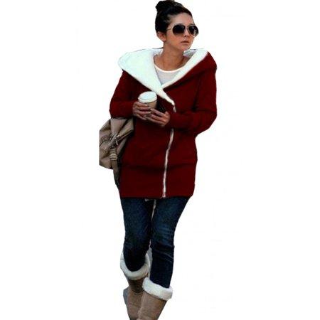 SkylineWears Women's Ladies Double Zip Hoodies Sweatshirt Jacket Coats Burgundy Small