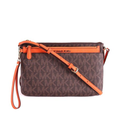 NWT MICHAEL KORS SIGNATURE JET SET BROWN LARGE POCKET MESSENGER CROSSBODY BAG
